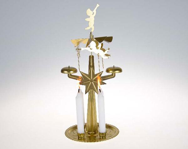 Andělské zvonění  se svíčkami, barva mosaz