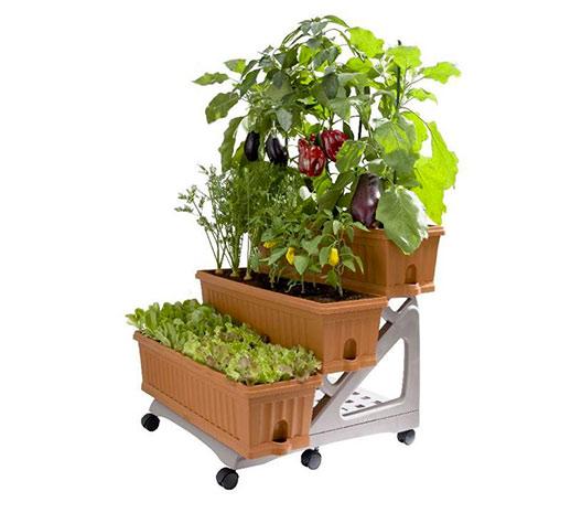 Zahrádka na balkón pro bylinky a zeleninu ORTO 3 x 80 cm, 90 l, terakota