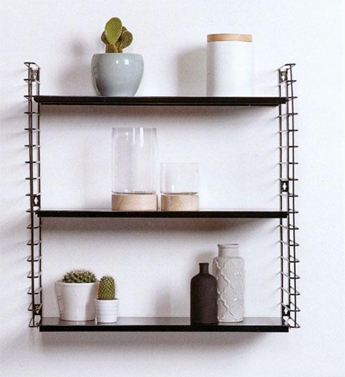 Kovové poličky na zeď Libro 70x21x68 cm, černá, Metaltex