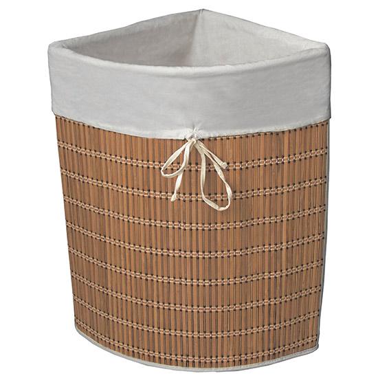 Koš na špinavé prádlo rohový 6796 Bambus 35 l, 50 x 35 x 61 cm