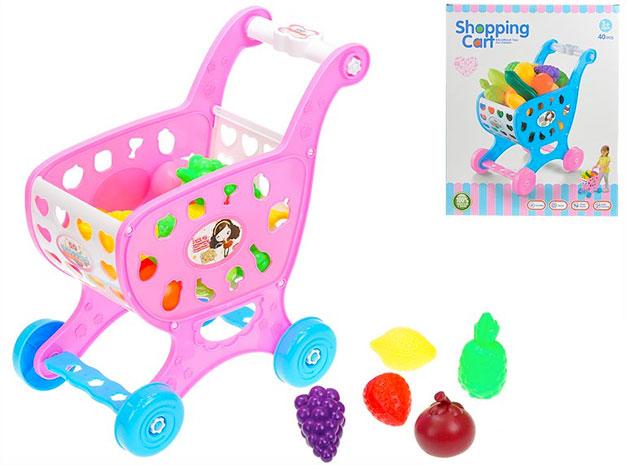 Dětský nákupní vozík 1070, 26x17x30 cm s ovocem a zeleninou