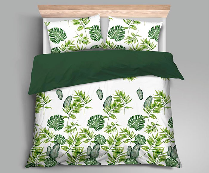 Ložní povlečení 6707 100% bavlněný satén 70 x 90, 140 x 200 cm, zelené