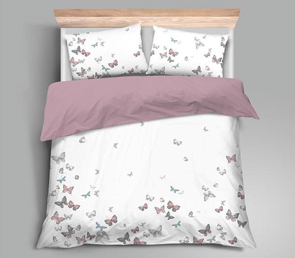 Ložní povlečení bavlněný satén Motýlci 100% bavlna 70 x 90, 140 x 200 cm
