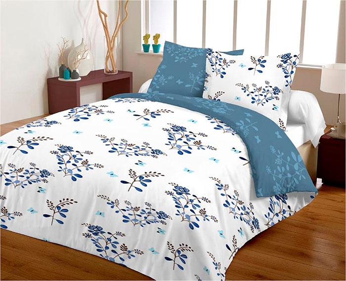 Povlečení z mikrovlákna - 100% polyester Modré květy 70x90, 140x200 cm