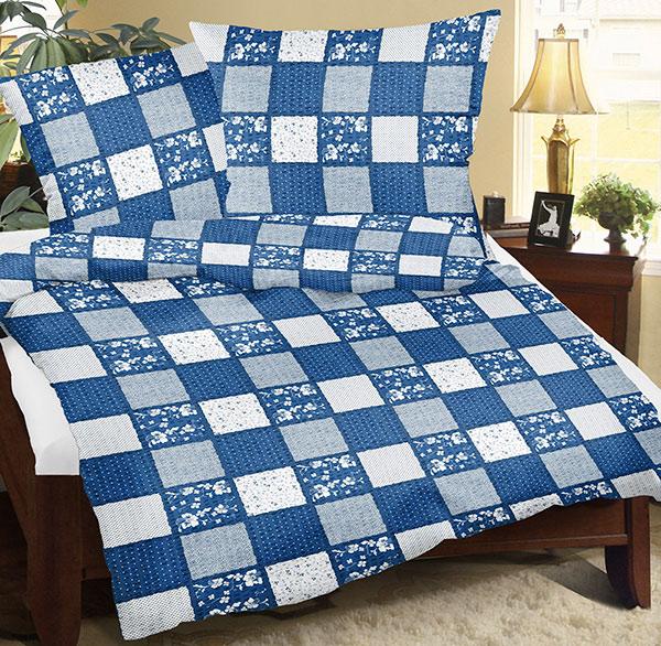 Povlečení bavlna 90/521 patchwork modrý 140x200 cm, 70x90 cm