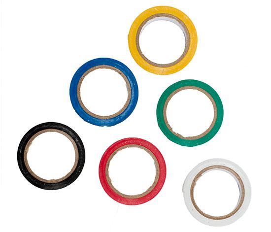 Barevné lepící pásky PVC 15 x 0,13 mm x 10 m, 6 kusů