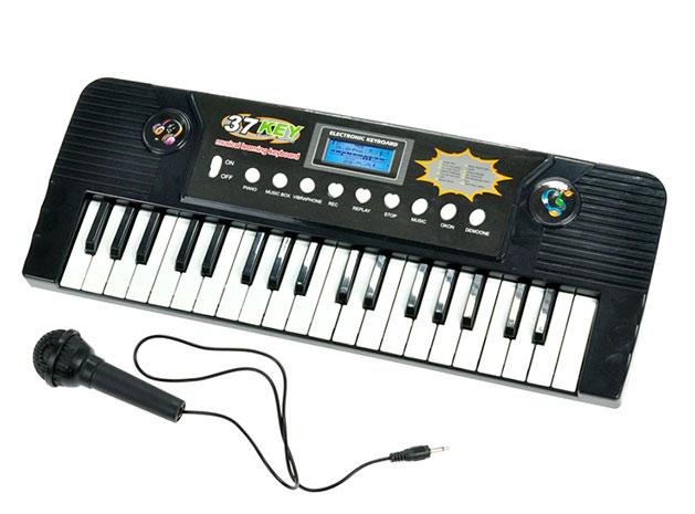 Dětské piano 37 kláves s mikrofonem na baterie 43x16 cm