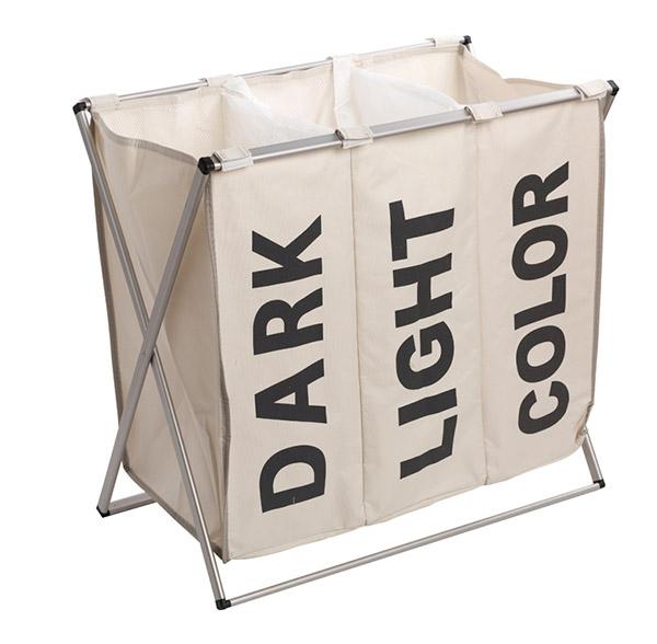 Skládací koš na tříděné špinavé prádlo 6913, 61 x 37 x 57 cm, smetanová