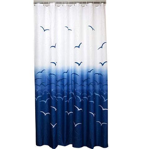 Koupelnový závěs textilie 180 x 200 cm, modrý