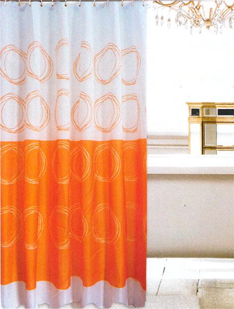 Koupelnový závěs textilie 180 x 200 cm, oranžový
