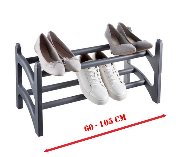 Dvoupatrový stohovatelný regál na boty výsuvný, šedá
