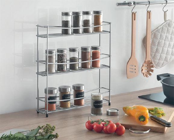 Kovová police do kuchyně na kořenky Kumino 3 patra 35 x 7 x 37 cm, šedá