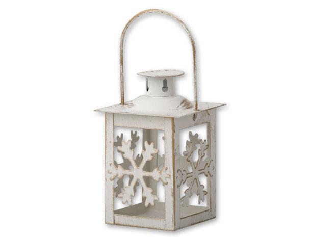 Lucerna kovová na čajovou svíčku Hvězda 1137, bílá