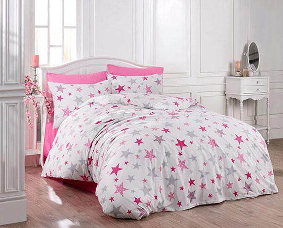 Bavlněné ložní povlečení Hvězdy růžové - bavlna 1 + 1, 70 x 90 cm, 140 x 200 cm