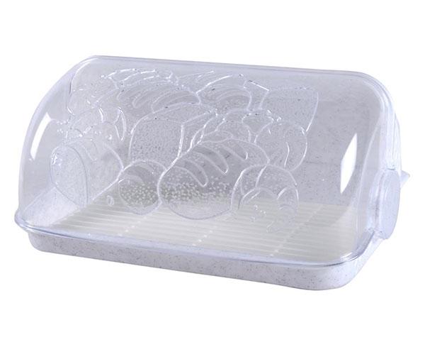 Chlebník plastový s mřížkou 6734, 42 x 26 x 18 cm, bílý mramor