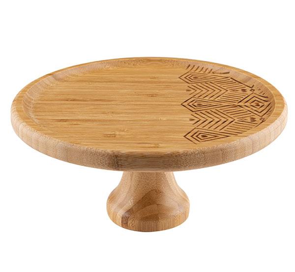 Dřevěný podnos na dort na nožce 7309, průměr 25 cm, přírodní bambus
