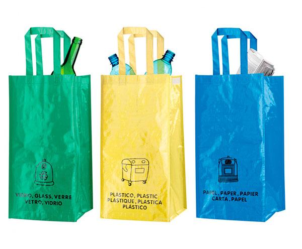 Tašky na tříděný odpad plasty, papír, sklo 3ks, objem 20 l