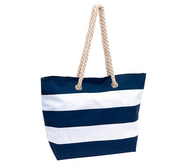 Dámská plážová taška přes rameno Pruhy 47 x 34 x 17 cm, modrá