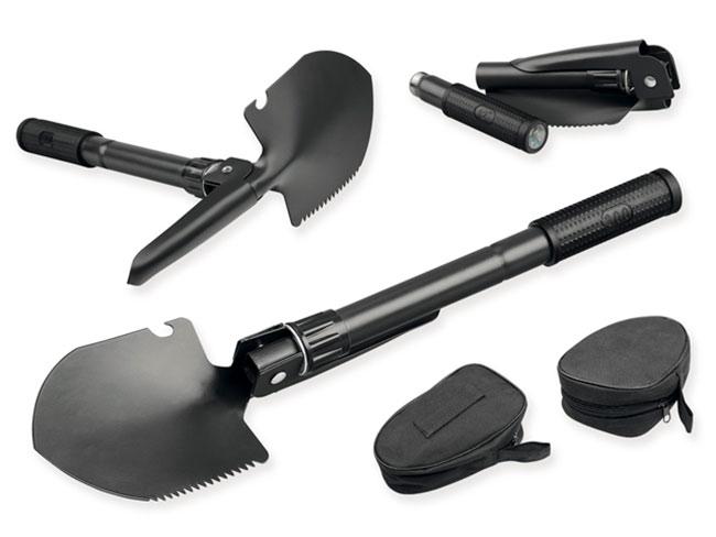 Polní lopatka - kovová skládací lopatka 2187 s kompasem v textilním pouzdře, černá