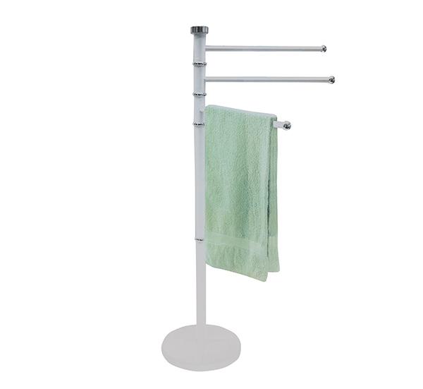 Stojan na ručníky do koupelny 3 ramena, otočný 86 cm, bílá