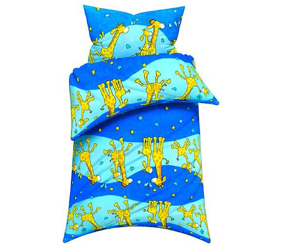 Bavlněné dětské povlečení do postýlky 2299 Žirafa 40 x 60 cm, 120 x 90 cm, modrá