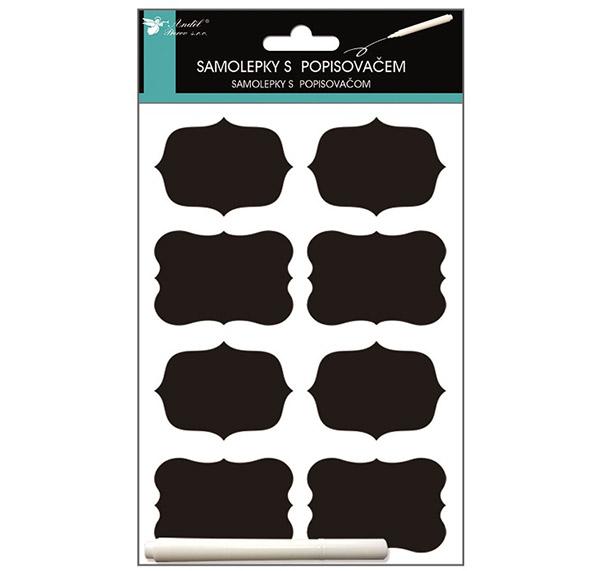Štítky na marmelády 7395 s popisovačem, etikety 6 x 4 cm 8 ks, černá