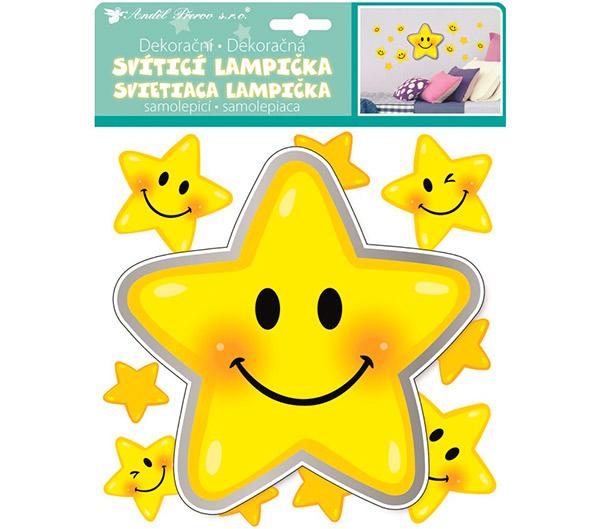 Dětská lampička na zeď LED Hvězdička nalepovací s dotykovým zapínáním 17 cm, žlutá