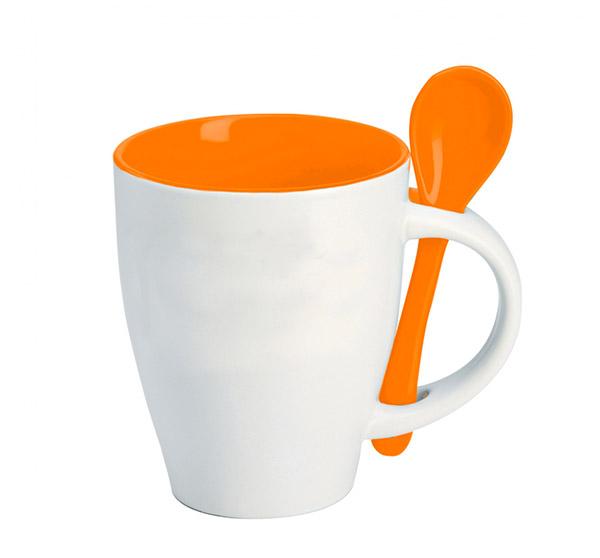 Hrnek se lžičkou - oranžová