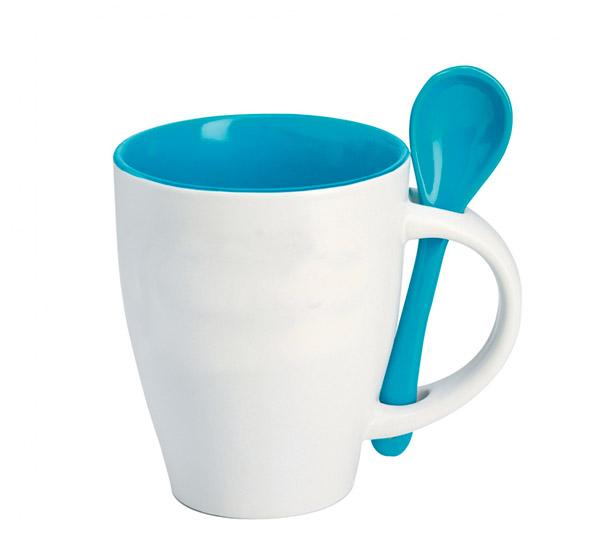 Hrnek se lžičkou - modrá
