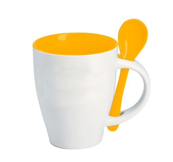 Hrnek se lžičkou - žlutá