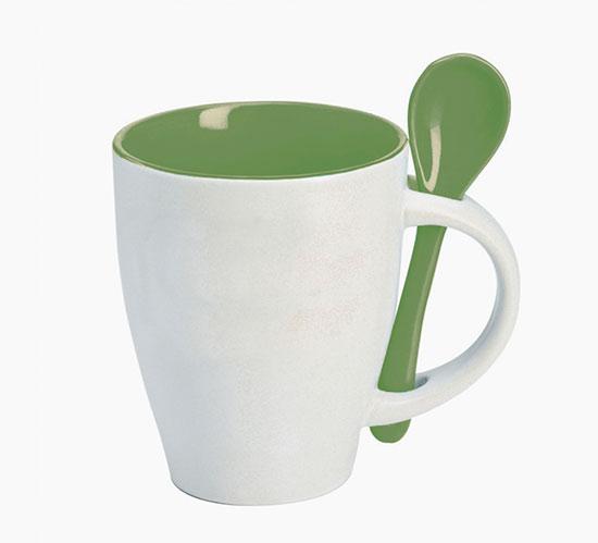 Hrnek se lžičkou - zelená