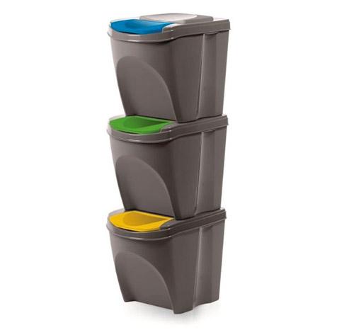 Odpadkový koš na tříděný odpad SORTIBOX 3 x 25 l, šedý