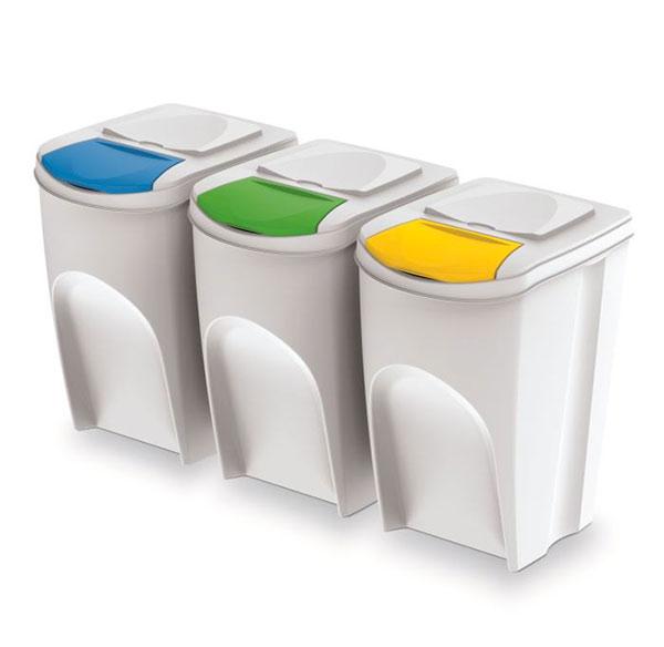 Odpadkový koš na tříděný odpad sada SORTIBOX 3 x 35 l, bílá