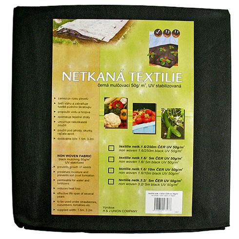 Netkaná mulčovací textilie 50 g/m2, 1,6 x 10 m, černá