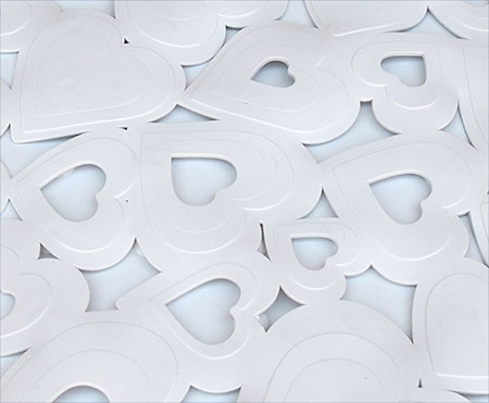 Protiskluzová podložka do sprchy Srdce 52 x 52 cm, bílá