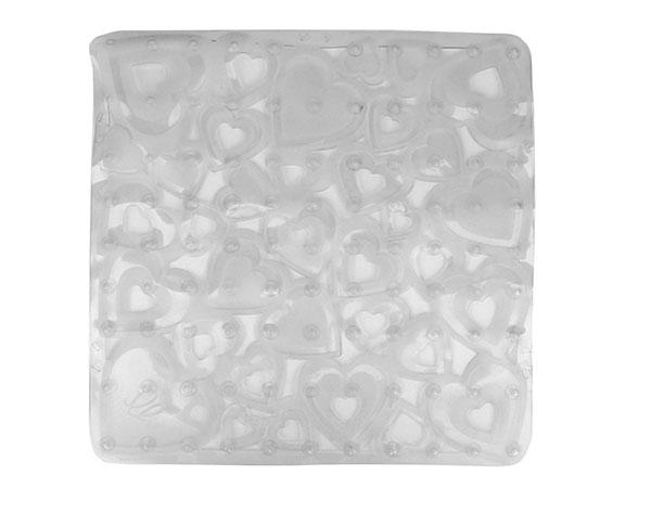 Protiskluzová podložka do sprchy Srdce 52 x 52 cm, transparentní