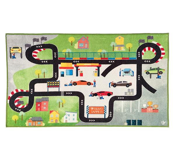Dětský koberec silnice 80 x 140 cm, Okruh, zelená