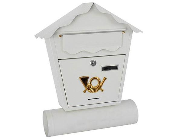 Poštovní schránka kovová, lakovaná bílá 370x364x134mm