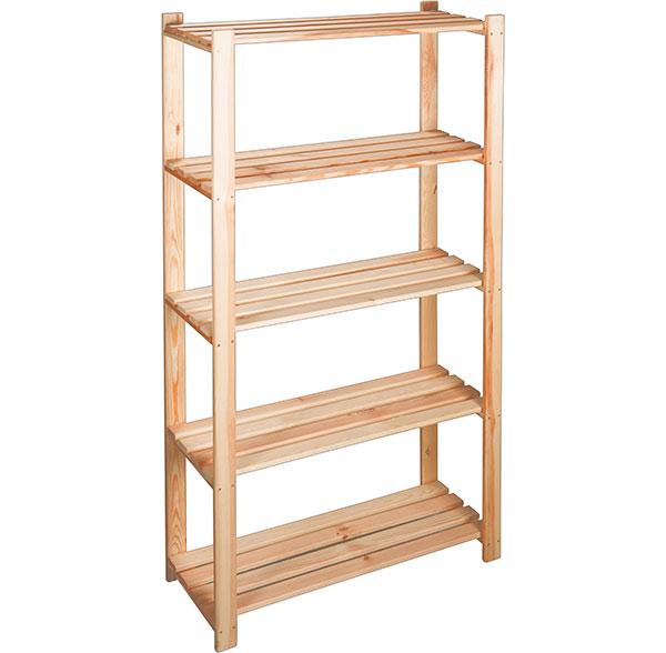 Dřevěný regál 5 polic do komory a garáže 7305 z přírodní borovice 80x30x170 cm