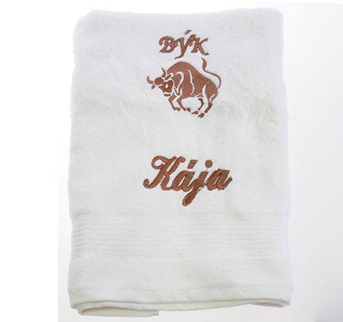 Ručník 50 x 100 cm s výšivkou bílá - jméno + znamení - Kája + býk