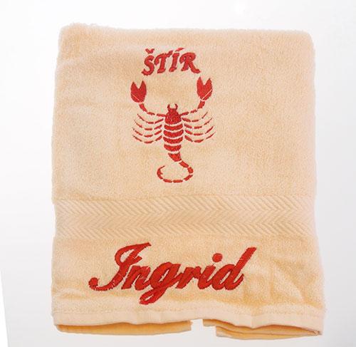 Ručník 50 x 100 cm s výšivkou lososová - jméno + znamení - Ingrid + štír