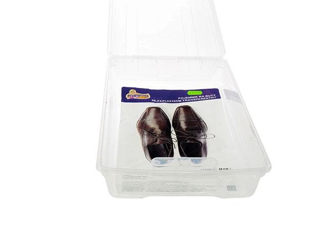 Plastová úložná krabice na boty 6578 s větráním 36,2 x 21,4 x 13 cm