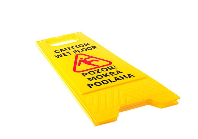 Cedule POZOR mokrá podlaha ČJ, SJ, AJ, 60 x 30 cm, žlutá