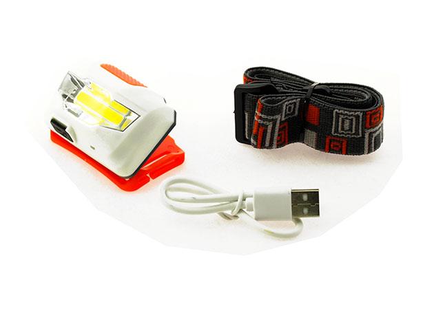 Nabíjecí čelovka USB LED 3W COB, Li-Ion 1200 mAh, 3399