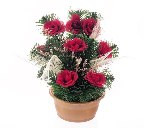 Umělé květiny v květináči Růže 20 x 27 cm, červená