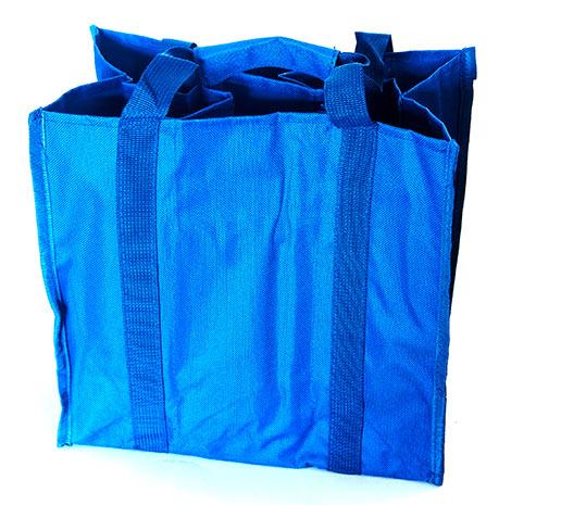 Taška na láhve 0,7 - 2,5 l Bottle bag na 6 PET lahví 26 x 16 x 30 cm, modrá