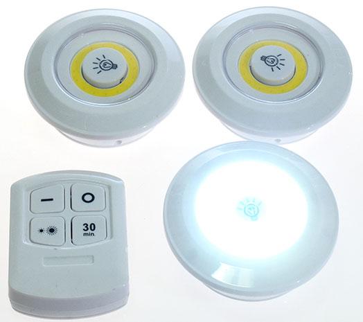 LED světlo na baterie 3W na dálkové ovládání 1016, 3ks