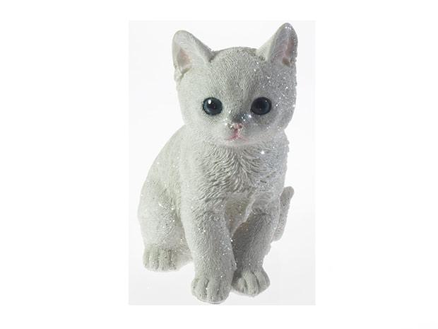 Kočka 6504 bílá, 16 cm, polyresin