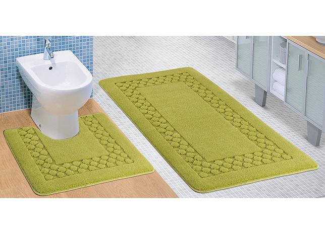 Koupelnová předložka + WC, Standard zelený rám, sada