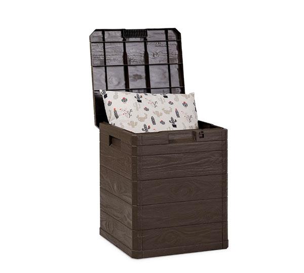 Plastový úložný box s víkem na terasu Woody 90L, sezónní 43x44x50cm, hnědá